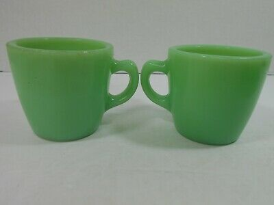 "2 Vintage Fire-King Mugs Jadeite C-Handle Restaurant Ware 3"" Tall Jadite GUC"