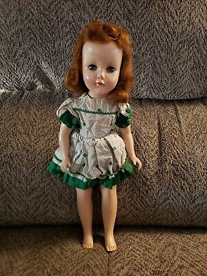 "Vintage 15"" Tall Red Head Composition Doll with Homemade One Piece Homemade Dres"
