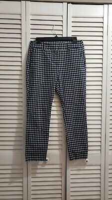 Loft Outlet Women's Modern Skinny Ankle Pants Navy White Plaid Size 4P