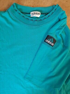 Vintage 90s Adidas Equipment Turquoise Green Tshirt EQT Neck Pattern Large