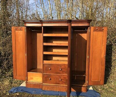 Victorian Compactum, Country House Style Wardrobe, Antique Mahogany Linenpress
