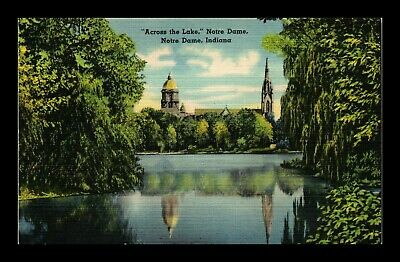 Dr Jim Stamps Us Across The Lake Notre Dame Indiana Linen View Postcard