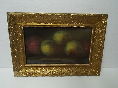 Vintage Gold Leaf Picture Frame & Original Apples Painting, Unsigned