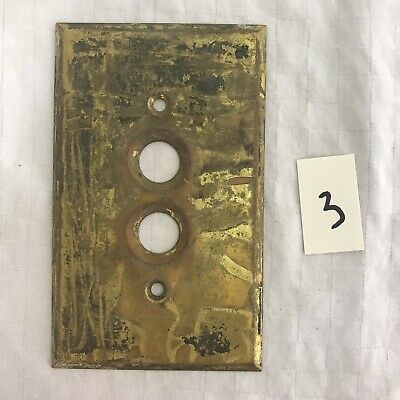 Vintage ARROW Solid Brass Push Button Single Light Switch Wall Cover Plate #3