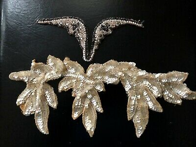Lot Of 2 Antique Beaded And Sequined Appliqués