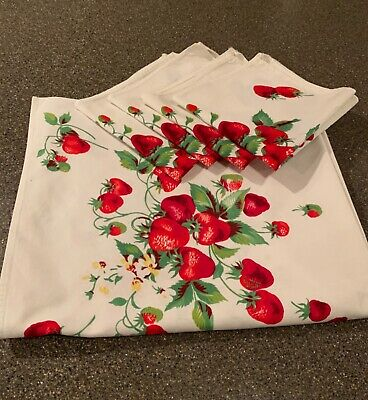 Vintage Cotton Strawberries Tablecloth and Napkins