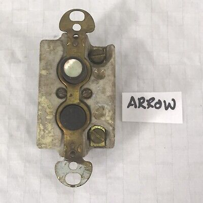 Vintage Ceramic with Mother of Pearl Button Light Switch: ARROW