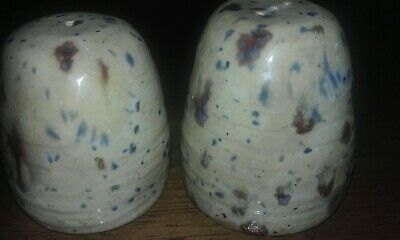 Old drip glazed pottery salt and pepper shakers signed S. ALFORD