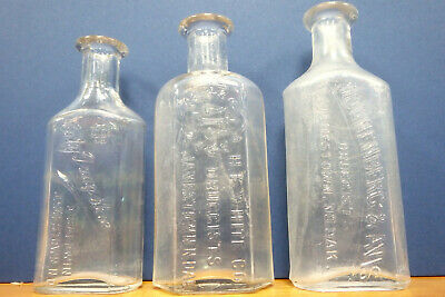 Lot of 3 different antique Jamestown North Dakota medicine drug store bottles