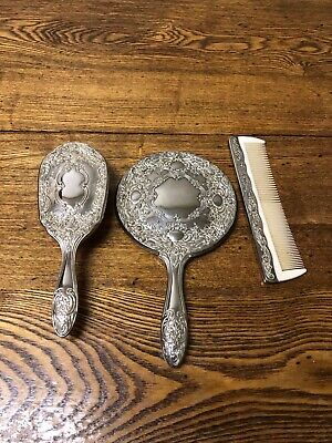 Vintage Vanity 3 Pc Set Silver Plated Hair Brush, Comb and Hand Mirror
