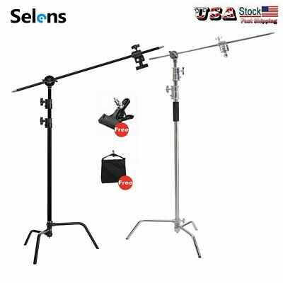 Turtle Base C Light Stand Kit w/ Grip Arm & Gobo Heads + Sandbag Strong Clip US
