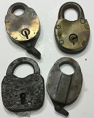 Old Antique Locks = Brass & Iron Padlocks Lot Of 4 Vintage With  No Keys
