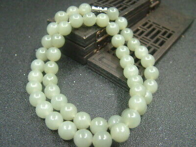 Chinese Antique Celadon Nephrite Hetian- Jade 9mm Bead Necklace Pendant