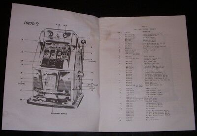Mills parts manual for antique slot machines