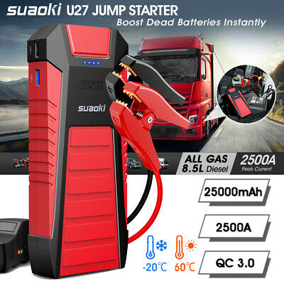 Suaoki 25000mAh 12V Car Jump Starter Booster Charger Battery Rescue Power Bank