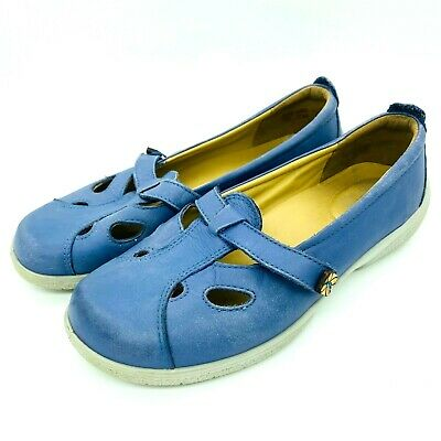 Hotter Hippy Womens Leather Comfort Cushioned Shoes Blue Size UK 5.5 US 7.5
