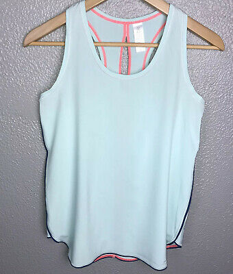 Ivivva By Lululemon Girls Tank Top Sz 14 Light Blue Aqua Split Back