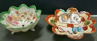 Pr Hand painted small footed bowl & tray dish Asian design thin ceramic Vintage