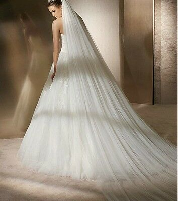 2 Tiers Cathedral bridal veil with Soft Illusion Tulle for wedding with Comb