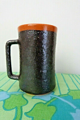 Hanstan Australian Pottery Orange & Textured Brown Coffee mug 1960's Signed