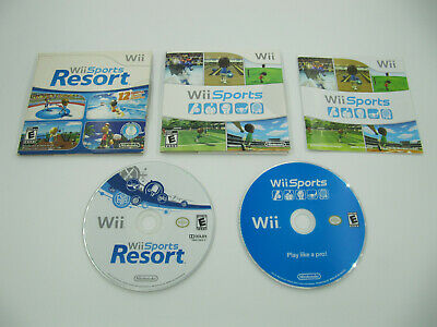 Lot of 2 Video Games Nintendo Wii Sports & Wii Sports Resort Case 2006 2007 2009