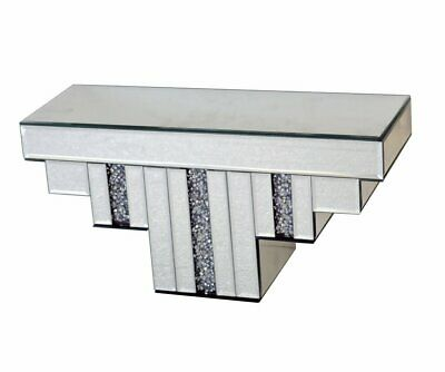 Mirrored Diamante Jewel Crystal Art Deco Floating Mirror Small Wall Shelf Shelve
