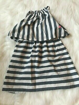Girls Ruffle Dress by Limited Too Size 4T Denim Blue White Striped