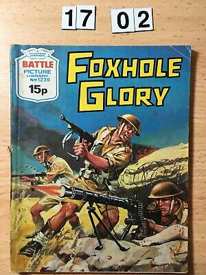"""Fleetway Battle Picture Library Comic # 1239 From 1978. """"Foxhole Glory""""  VG Cond"""