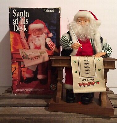 1994 Gemmy Animated/Musical Santa At His Desk Checking List W/Box-Not Working