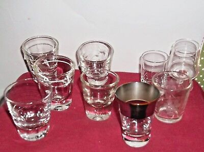 A Mixed lot of 9 clear glass shot glasses barware Vintage