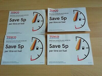 4 x Tesco fuel voucher 5p off per litre expires 23/02