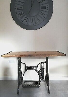 Antique SINGER Sewing Machine Table with black metal trim refurbished new