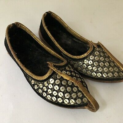 Vintage Shoes Childs Leather Curl Toe Aladdin Genie Sequins Decor Boho Decor