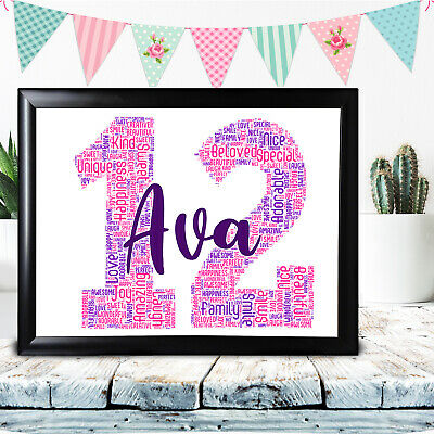 2nd Birthday Gifts Personalised Word Art For Girl Child Any Name Number 3rd 4th