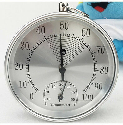 100mm Wall Hanging Mechanical Weather Thermometer Hygrometer Home Indoor