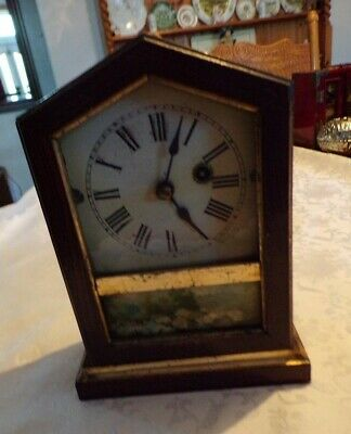 Small Antique Wood Cased Shelf/Parlour Clock, Spares/Repair