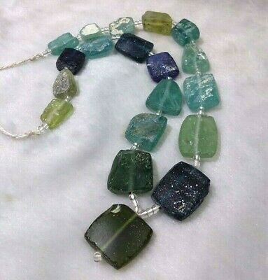 Ancient Genuine Old Roman Glass Beads Square  Mixed Size Color Random