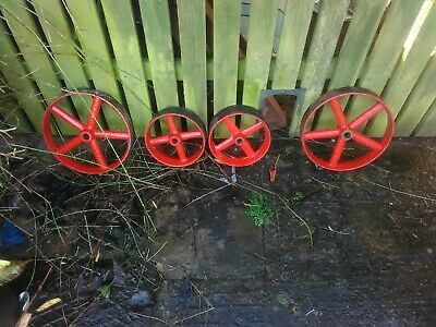Two Pairs Of Cast Iron Wheels For Stationary Engine/Trolley