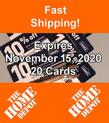 Twenty (20) Lowes 10% off Discount for Home Depot only Exp November 15 2020