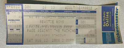Beastie Boys Rage & Against Machine Foxboro Stadium MA 8/12/2000 Concert Ticket