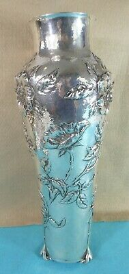 Rare Victorian Art Nouveau Sterling Silver Vase Flowers Stems Gilbert Marks 1899
