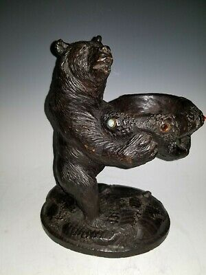 Nicely carved wood antique German Black Forest jeweled bear sculpture