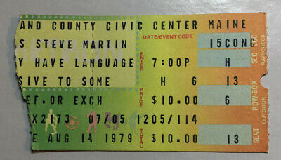 CONCERT TICKET STUB Steve Martin Portland ME August 14, 1979 Wild And Crazy Guy