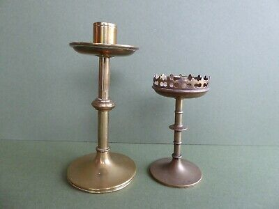 SUPERB Orig ANTIQUE Early 20thC Arts&Crafts-ECCLESIASTICAL Brass CANDLESTICKS