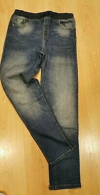 BLUEZOO boys blue washed out denim jeans elasticated waistband size 14 (13-14 14