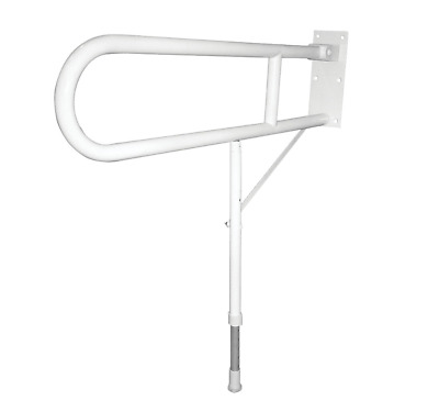 Elderly & Disabled Double Support Hinged Rail W/Leg White 310 X 775-925 X