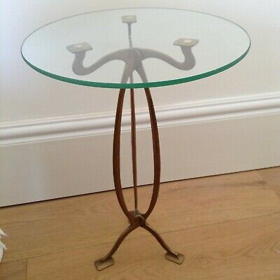 PETITE Antique Side Table Brass and Glass Art Nouveau Art Deco