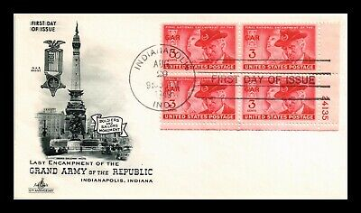 Dr Jim Stamps Us Grand Army Of Republic Gar Fdc Cover Scott 985 Plate Block
