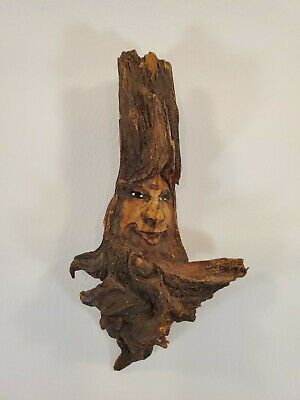 "Vintage Carved Face In Wood Branch Wall Hanging 7.5"" X 4"""