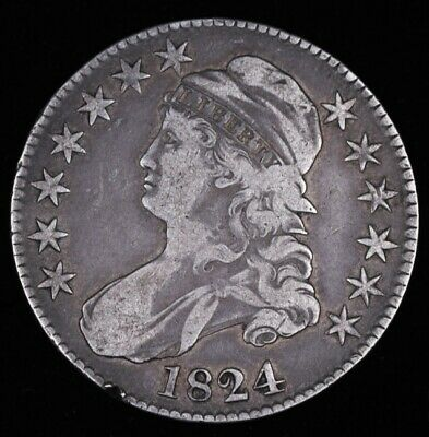 1824/4 1824 OVER 4 KEY CHOICE++ CAPPED BUST HALF DOLLAR Great Color Details VF++